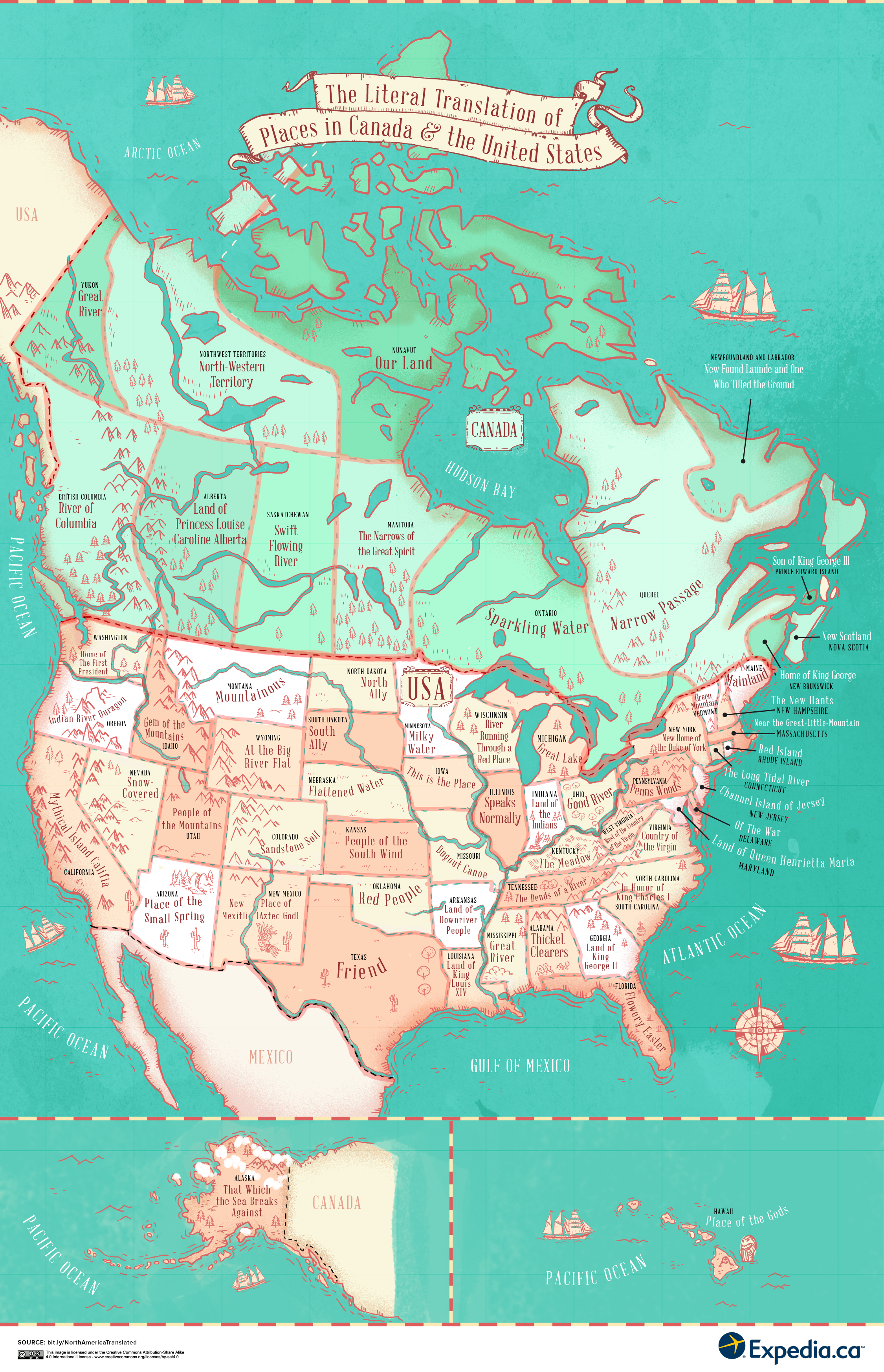 The Literal Translation Of Places In The United States And Canada - United states and canada map