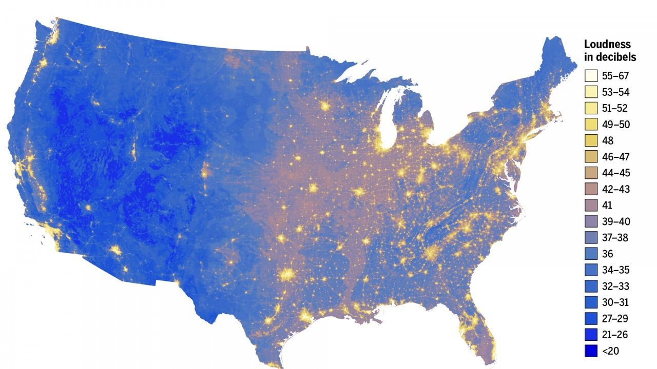 Here are the loudest and quietest places in the US