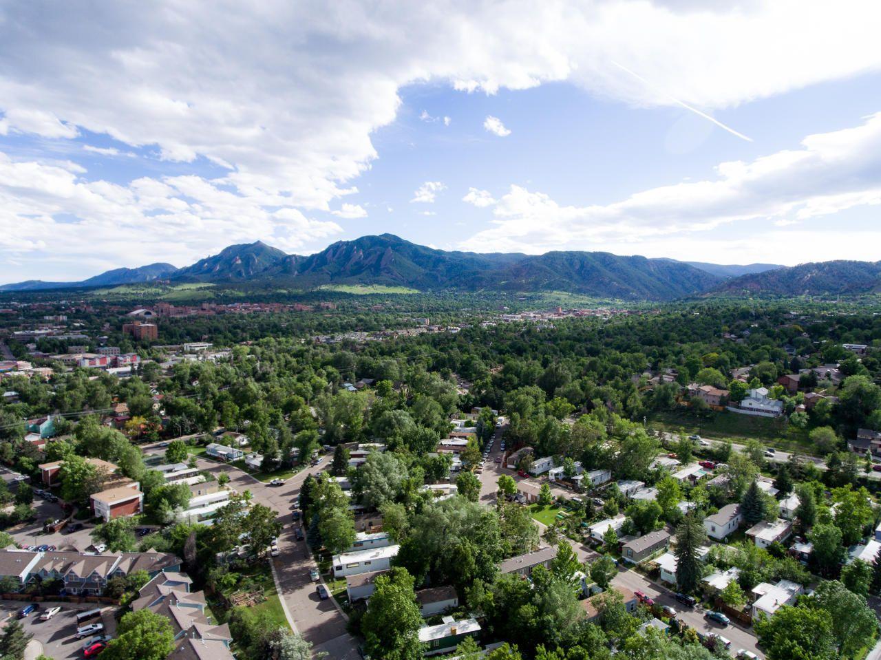 Aerial shot of Boulder, CO