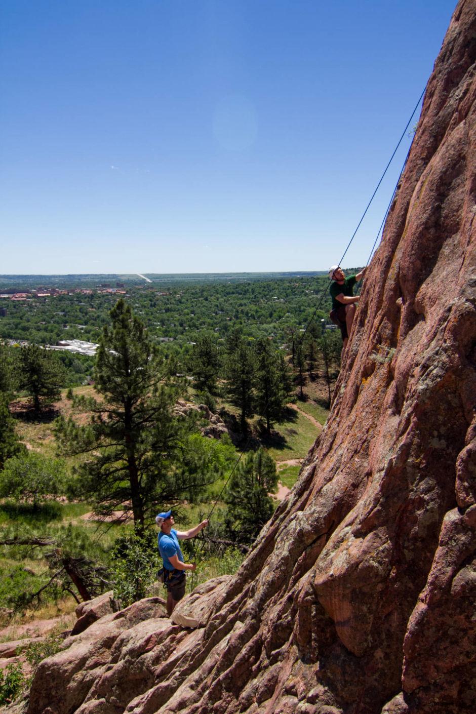 Rock climbing in Boulder, CO