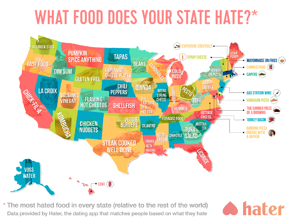Mapped Most Hated Food In Each US State Matador Network - Map of us by state
