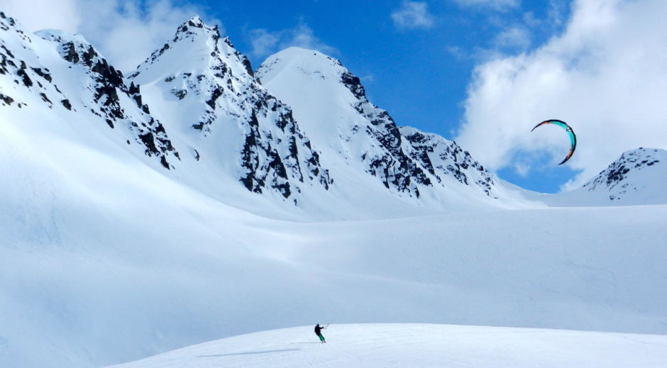 Kite snowboarding Valdez, AK