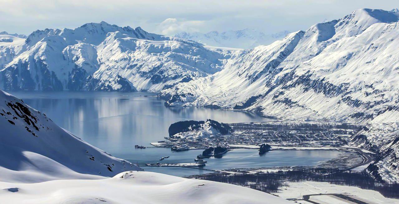 Aerial view of Valdez, AK