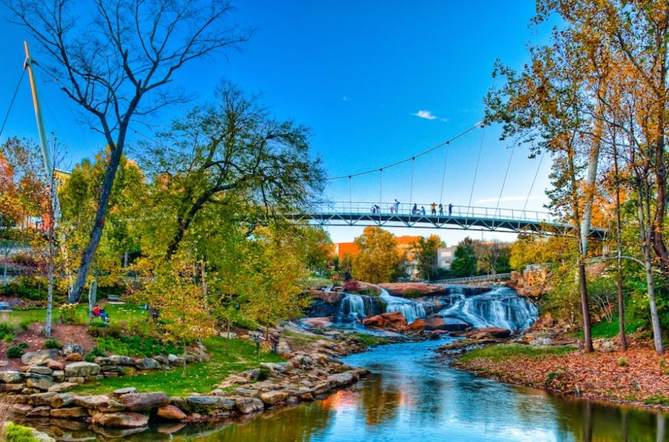Falls Park on the Reedy featuring the Liberty Bridge