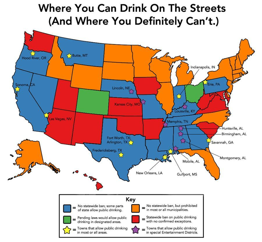 Drinking in public in the US: Where it is allowed, where it is banned