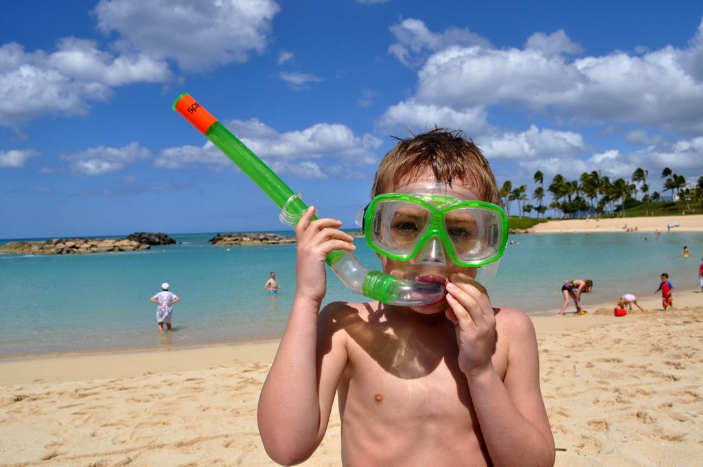 Kid snorkeling Hawaii