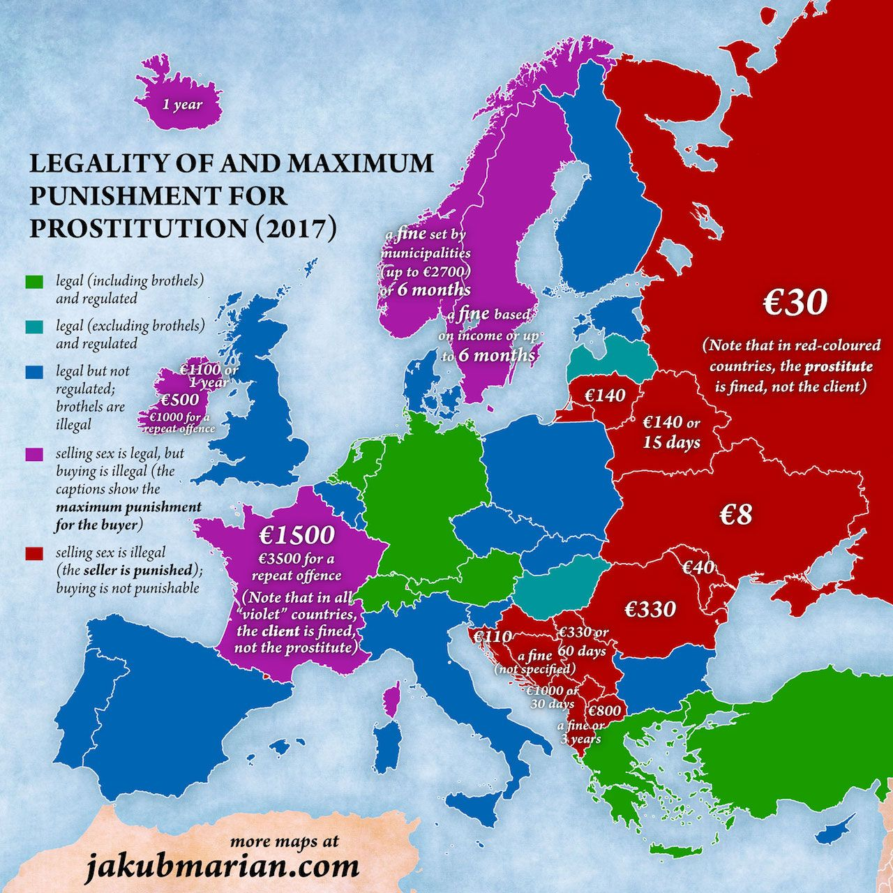 Map of prostitution laws in Europe