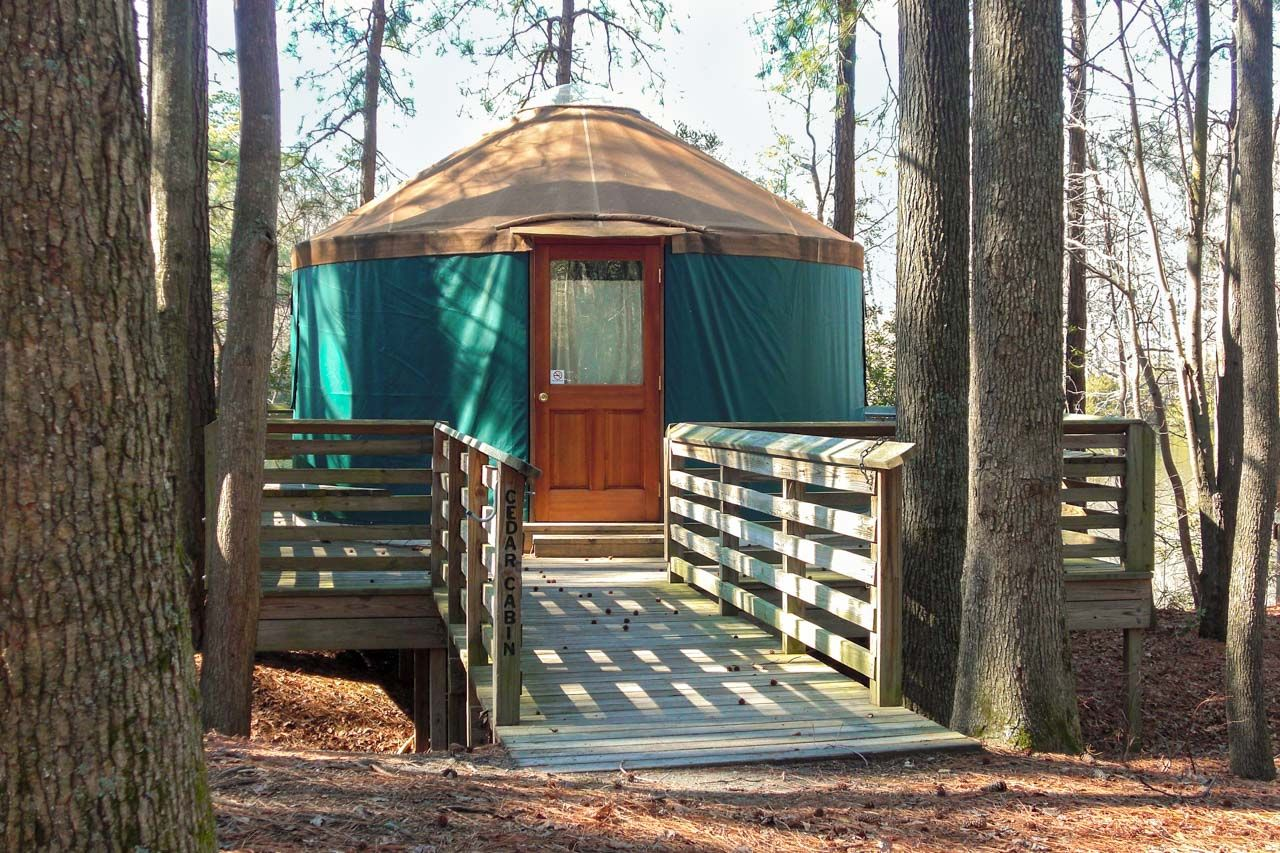 Sandy Bottoms State Park yurt camping forest