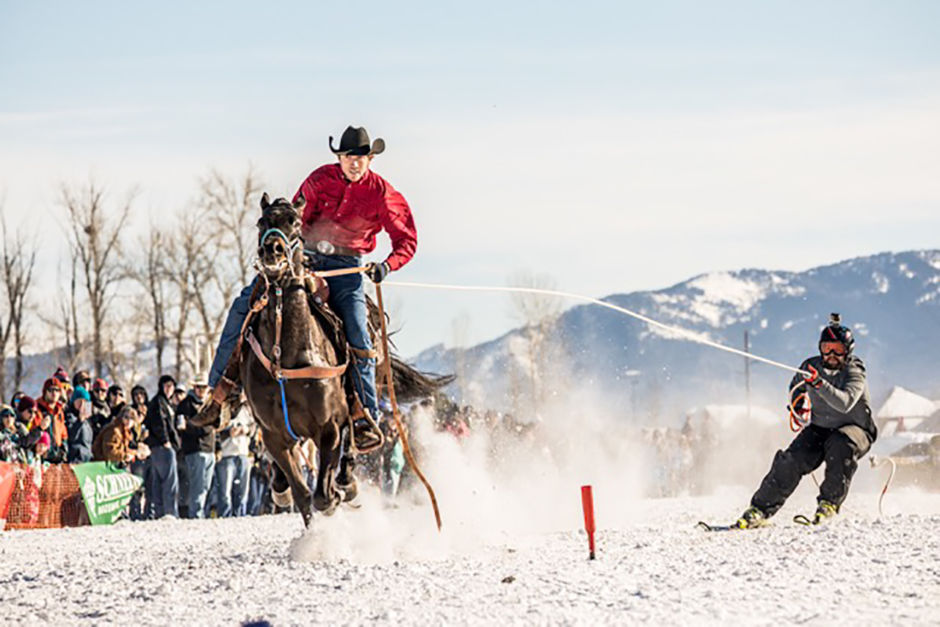 Skijoring Yellowstone Montana