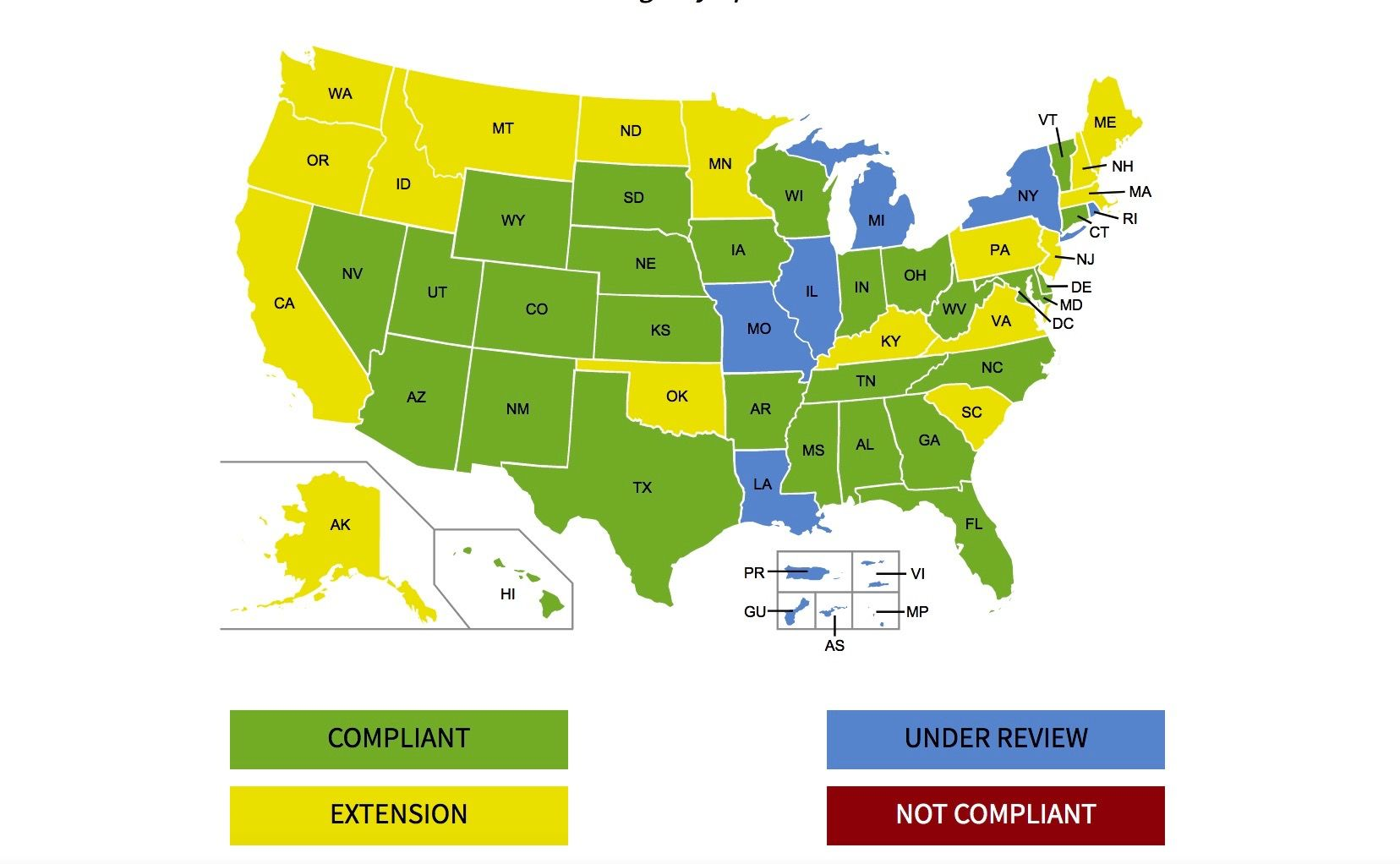 US Gov map of real id compliant states