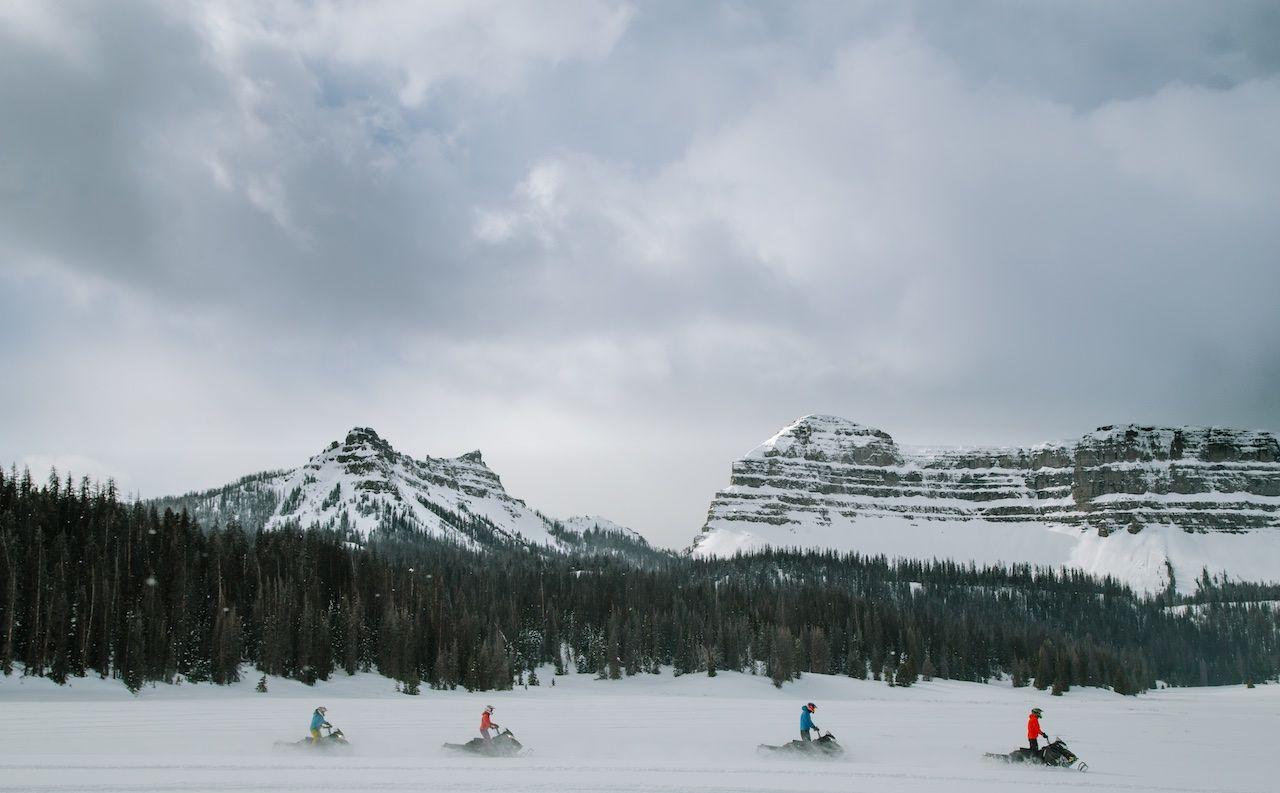 Wyoming winter snowmobiles Togwotee Pass