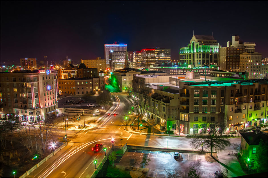 Downtown Greenville at night