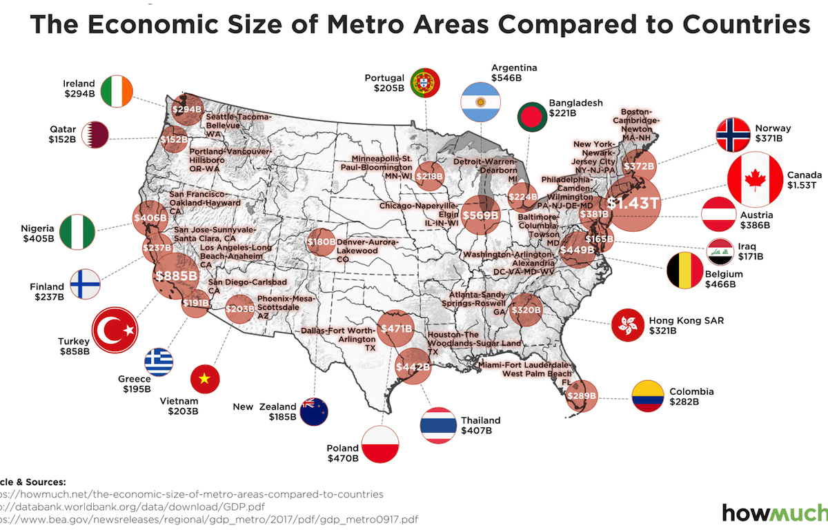 American Metros Have Economies That Rival Entire Nations - Us-gdp-map