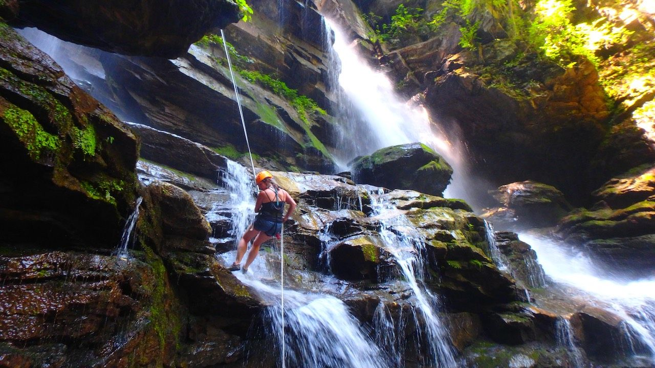 Rappeling Greenville South Carolina waterfall