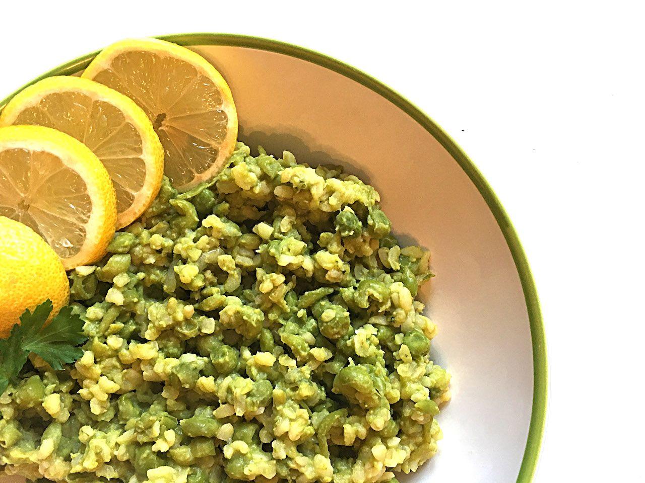 Green pea bulgur vegan hostel cooking recipe
