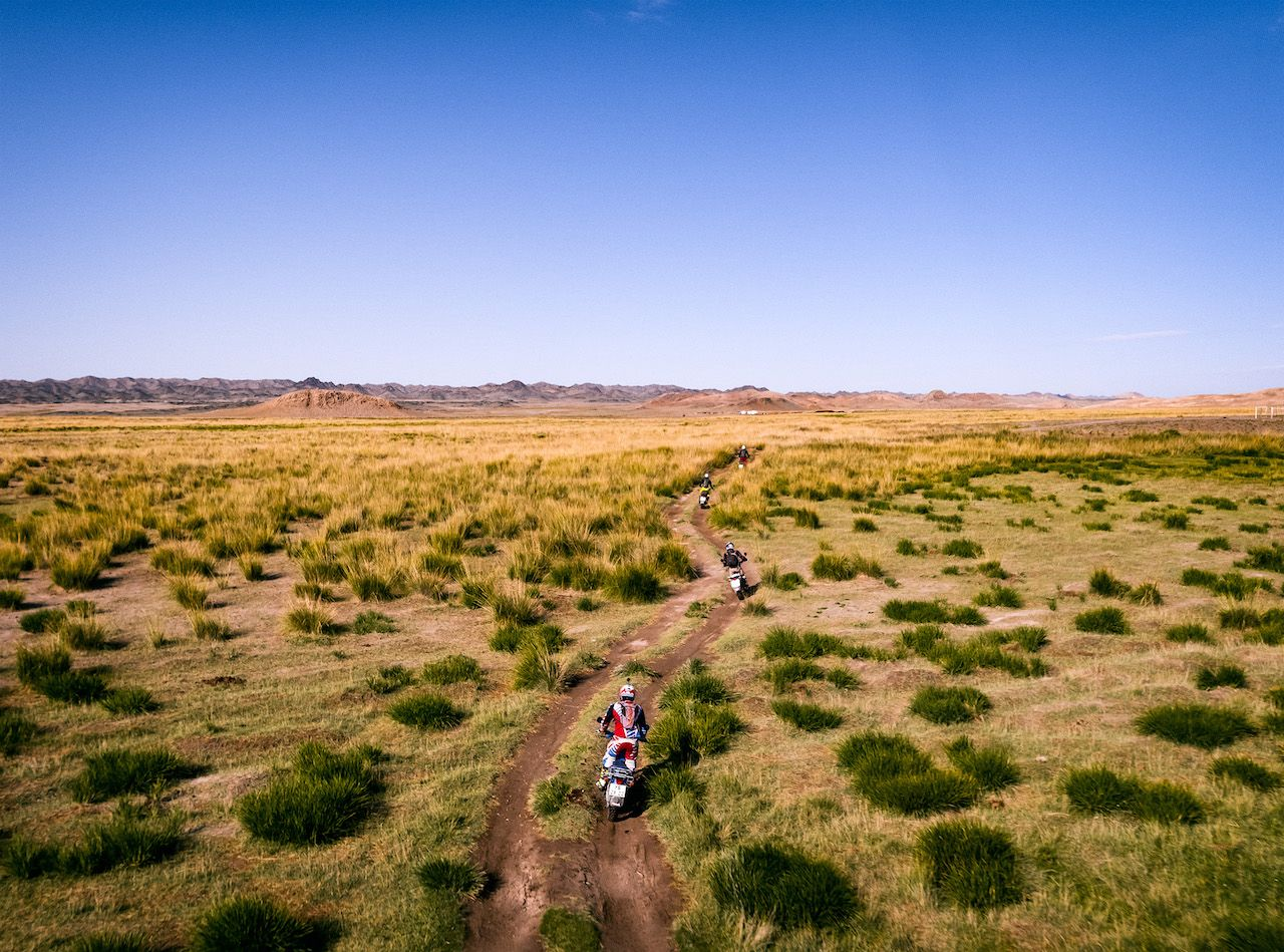 Mongolia motorcycle riders