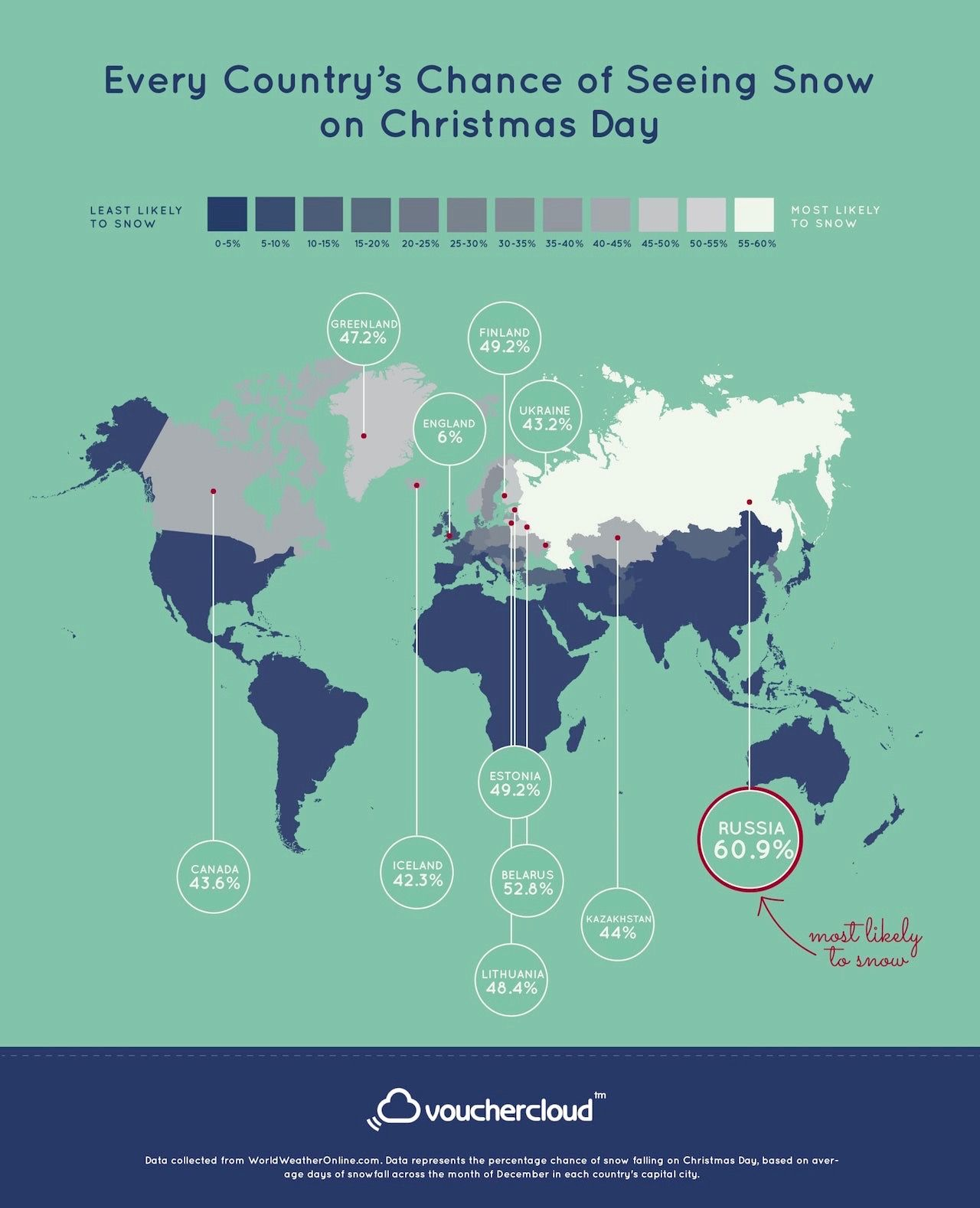 White Christmas across the world map
