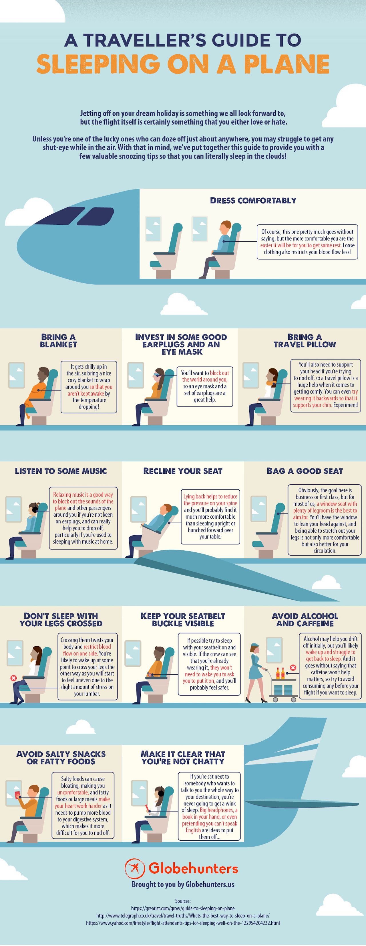 how to sleep on a plane infographic