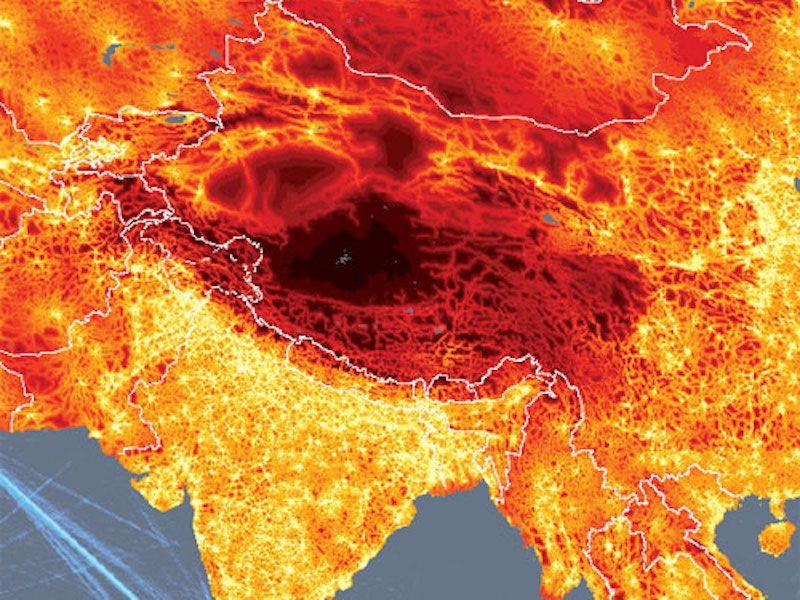 tibet travel time map