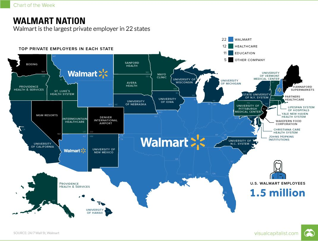 Map of employers