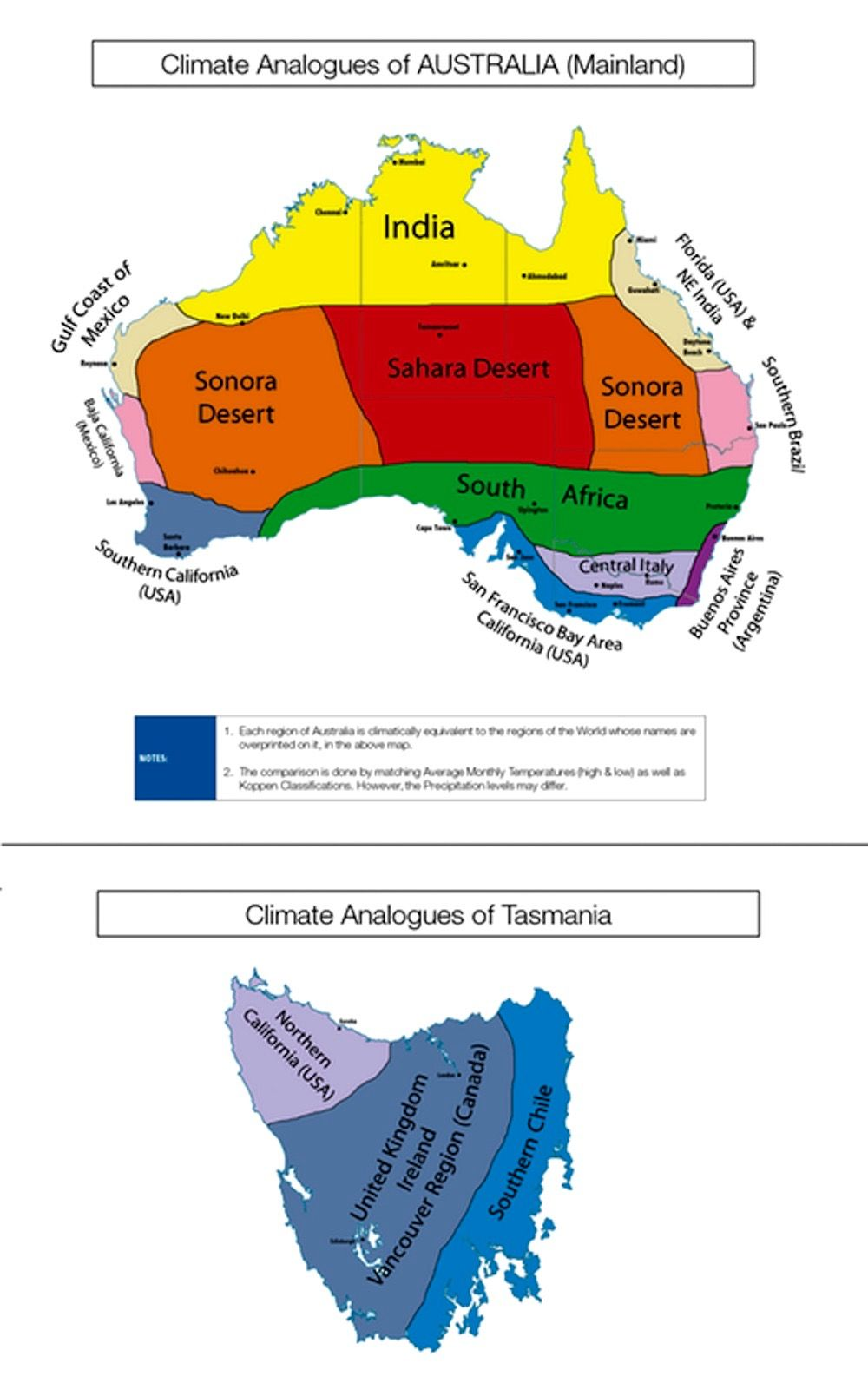 Map of the climate analogues of Australia