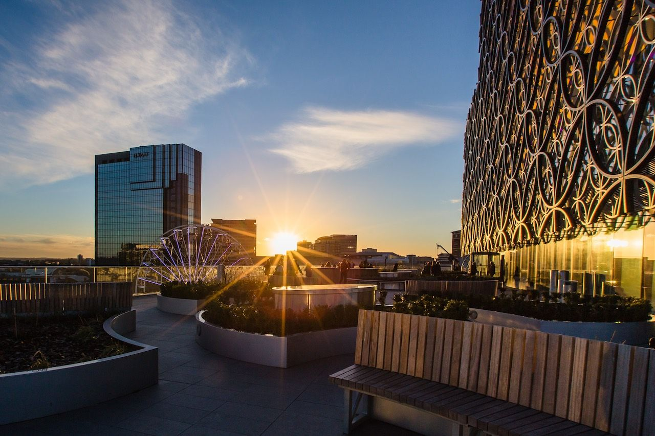 Birmingham library sunset