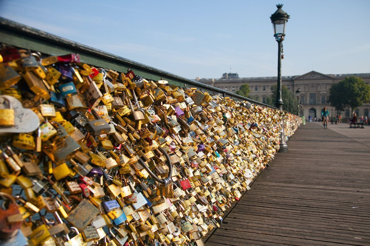 Love locks on Arts Bridge, Paris