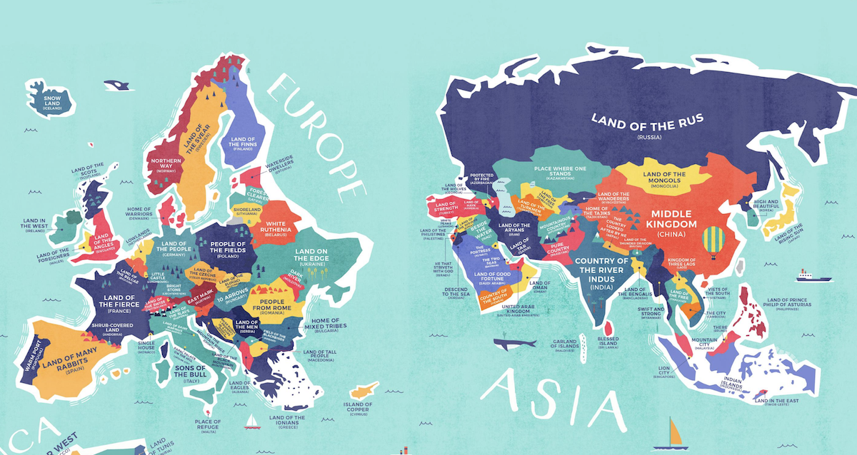 Map Of The World Showing All Countries.This Map Shows The Literal Meaning Of Every Country S Name
