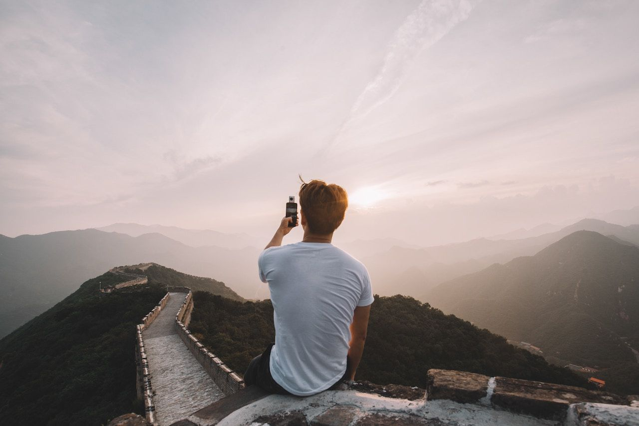 Man on great wall of china