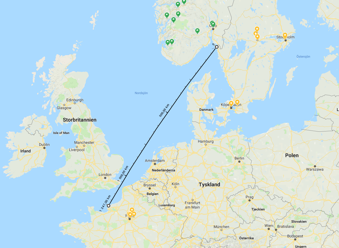 Sail from Sweden to France in straight line map