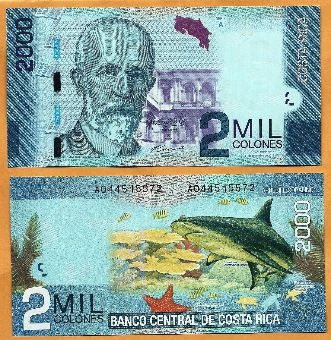 Colorful costa rican banknotes