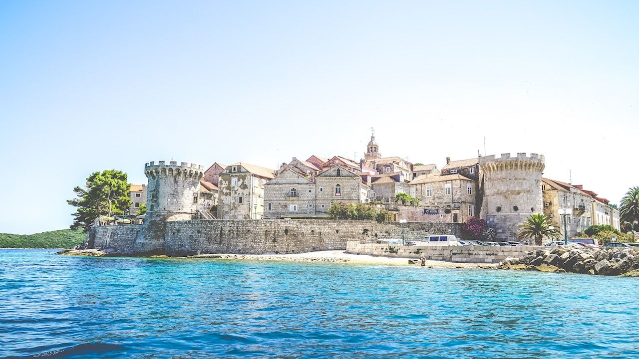 View at old city of Korcula and fortress in Croatia