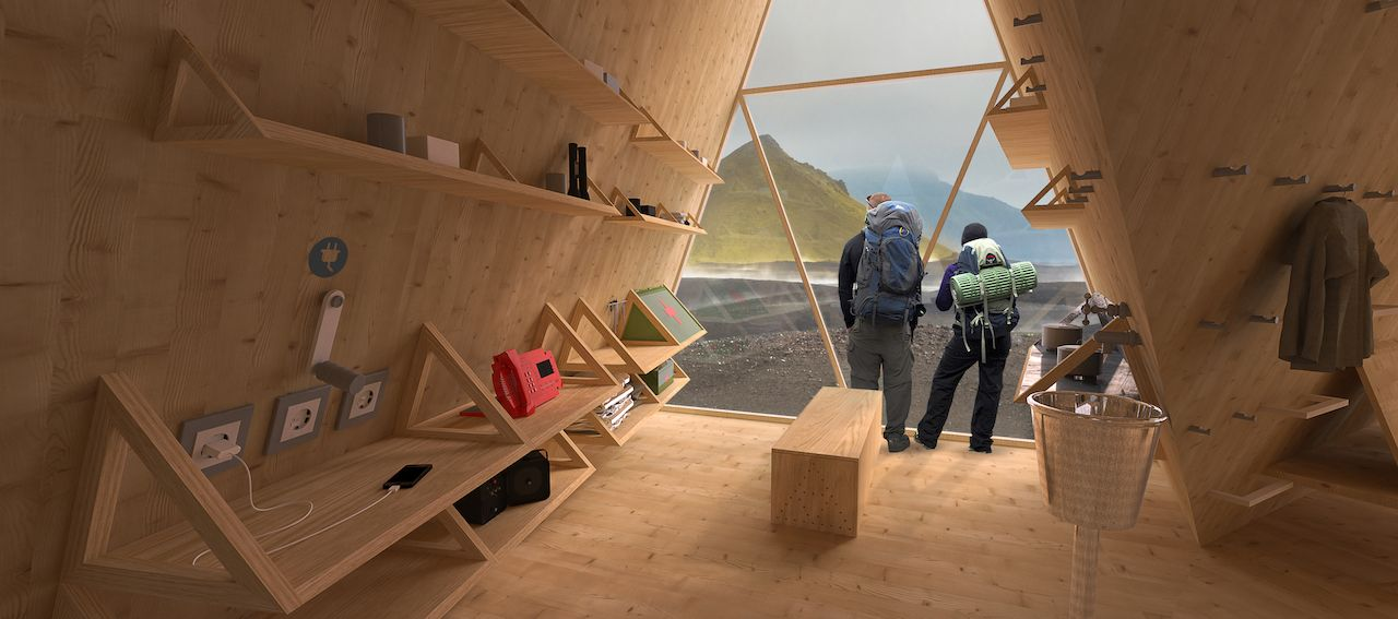 geometric tent-like cabins in Iceland