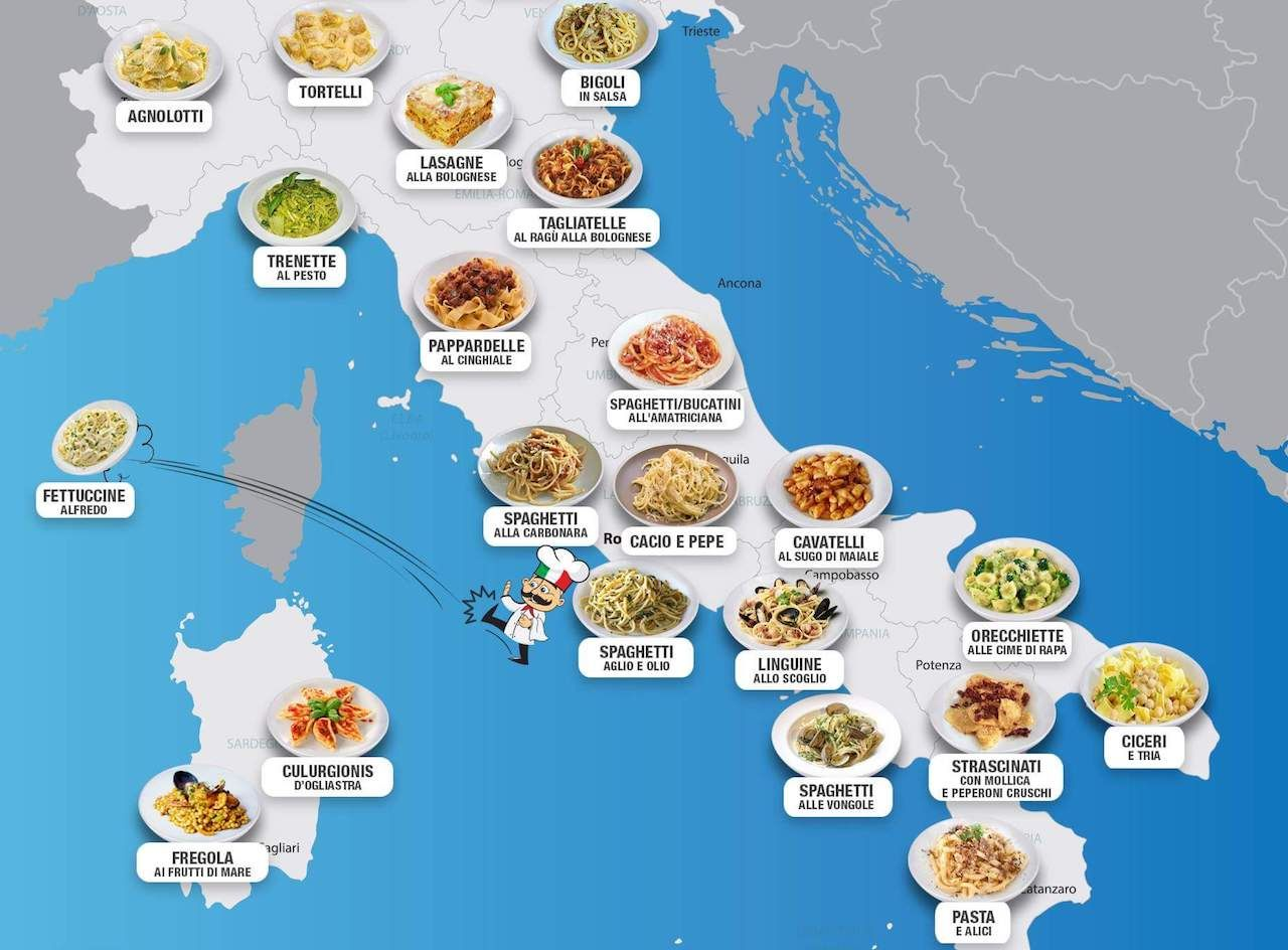 Map Of Italy In Italian.This Map Of Italy S Famous Pasta Dishes Is Mouthwatering