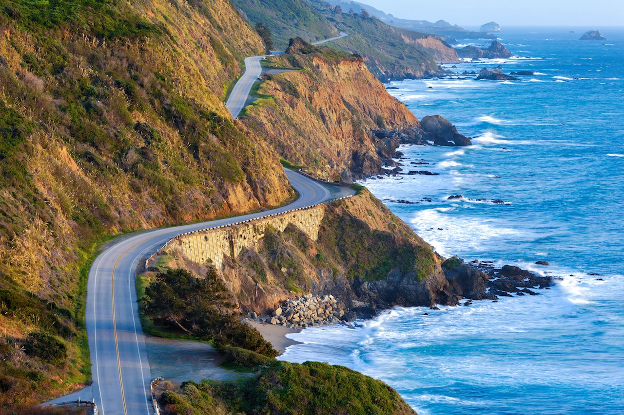 Highway 1 at southern end of Big Sur, California