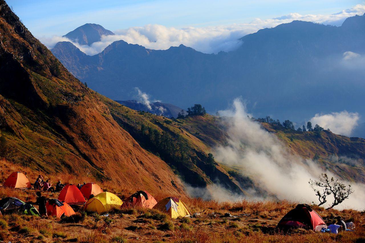 camping on Rinjani Volcano