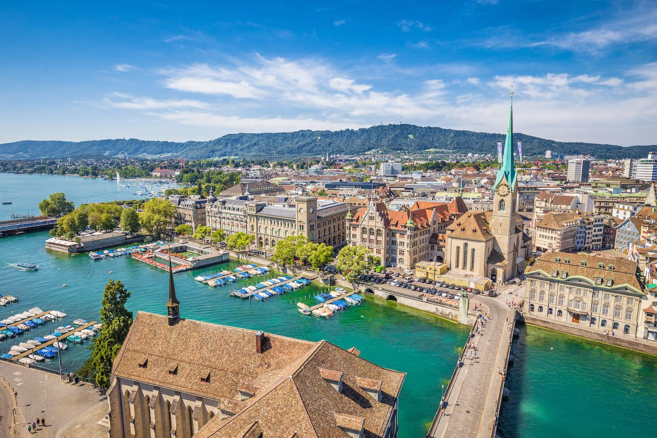 Aerial view of historic center of Zurich