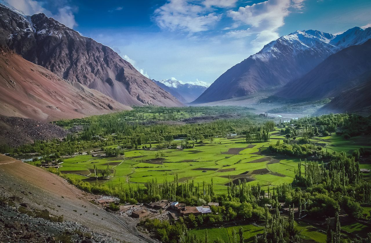 Beautiful mountain valley in the Karakorum mountains in Pakistan
