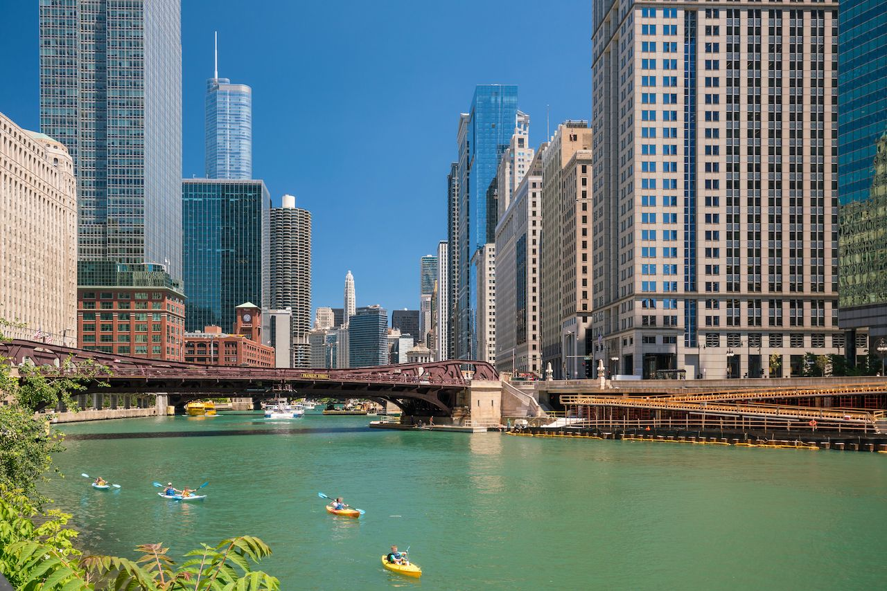 Chicago river with kayaks