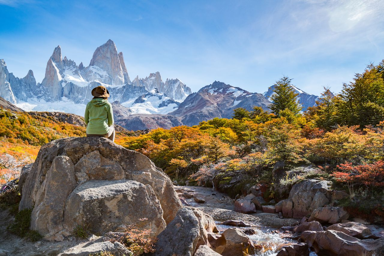 Traveler in Autumn in Fitz Roy, Patagonia, El Chalten