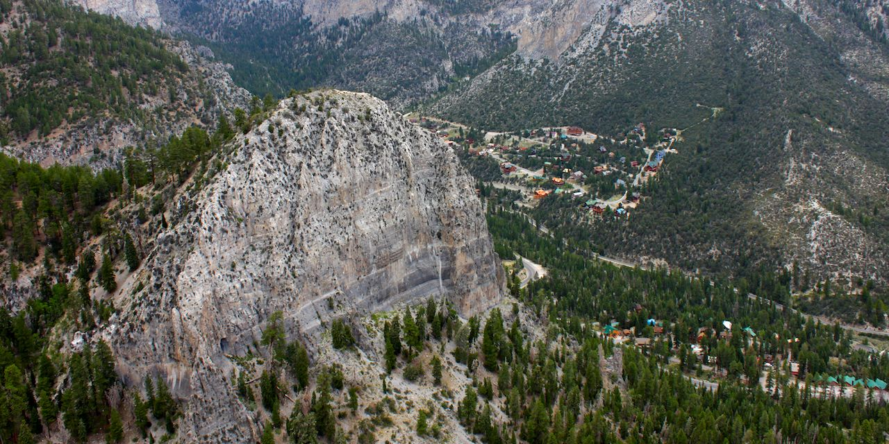 Cathedral Rock seen from Echo Cliff near Mount Charleston, Nevada.