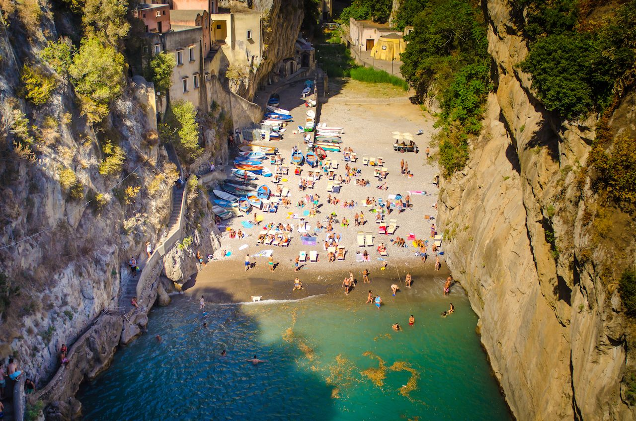fiordo di furore beach seen from bridge