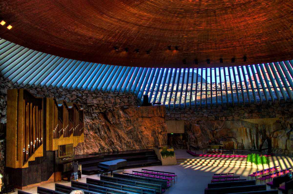 Stone church Temppeliaukio buried in the rock in Helsinki, Finland