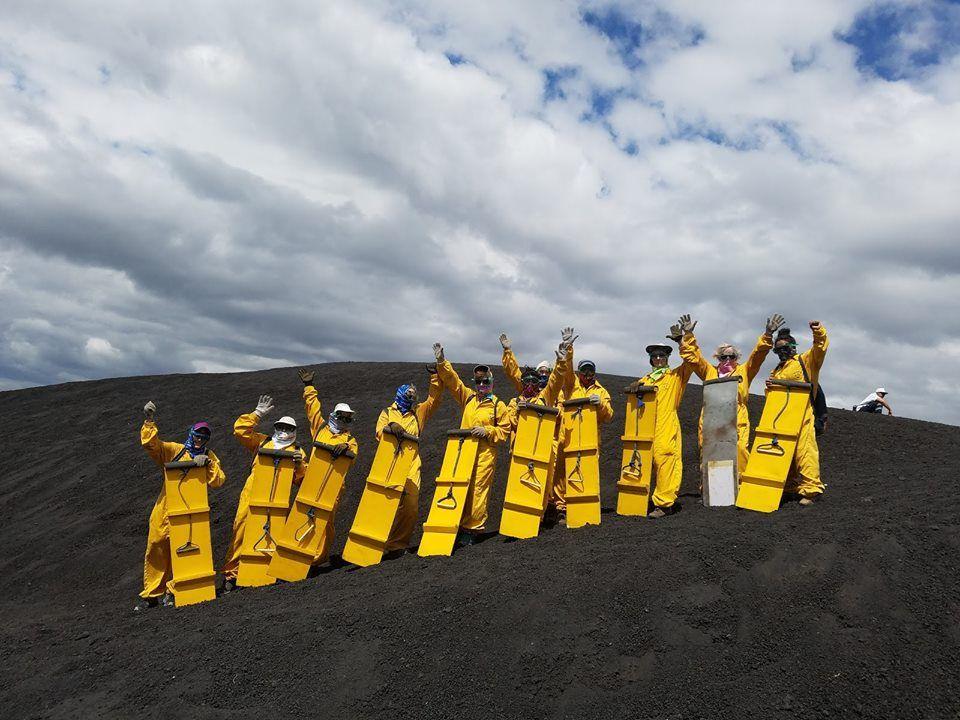 Women volcano boarding