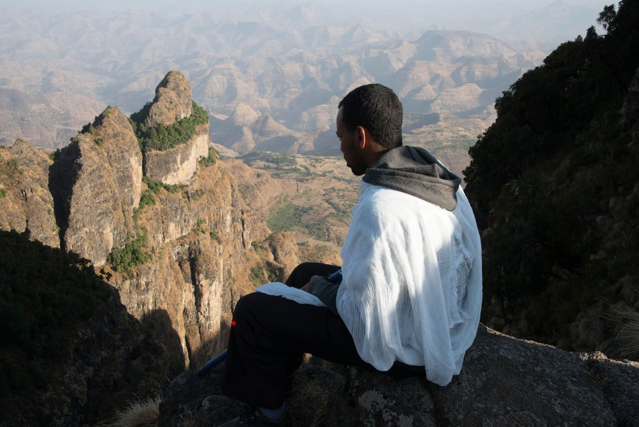 Hike to an ancient cliffside Ethiopian monastery