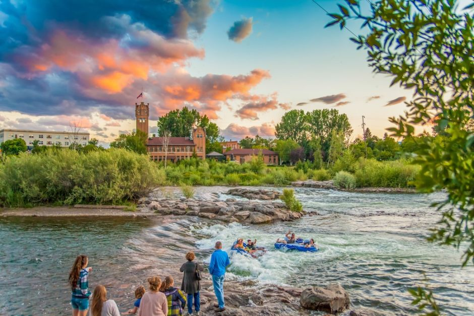 River shot at sunset Missoula Montana
