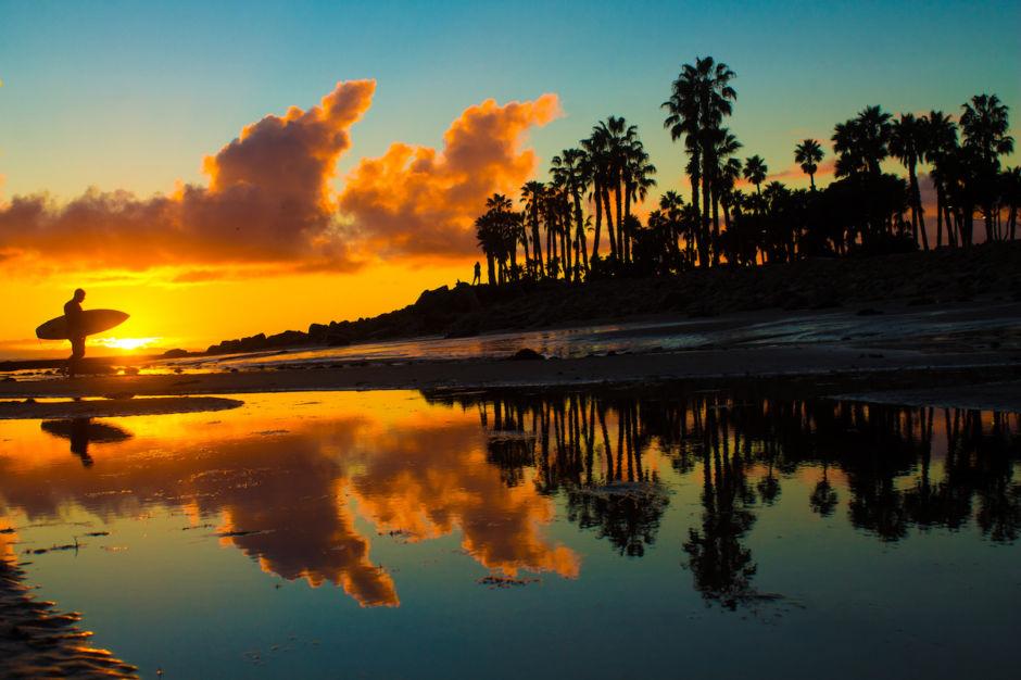 Ventura California surfing sunset