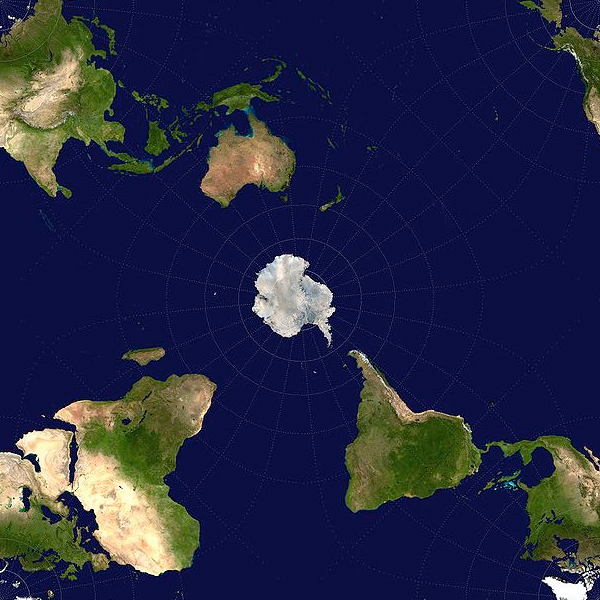 This map shows the world from an Antarctic point of view