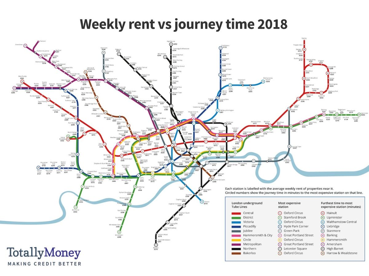 london underground map shows the average price of rent at