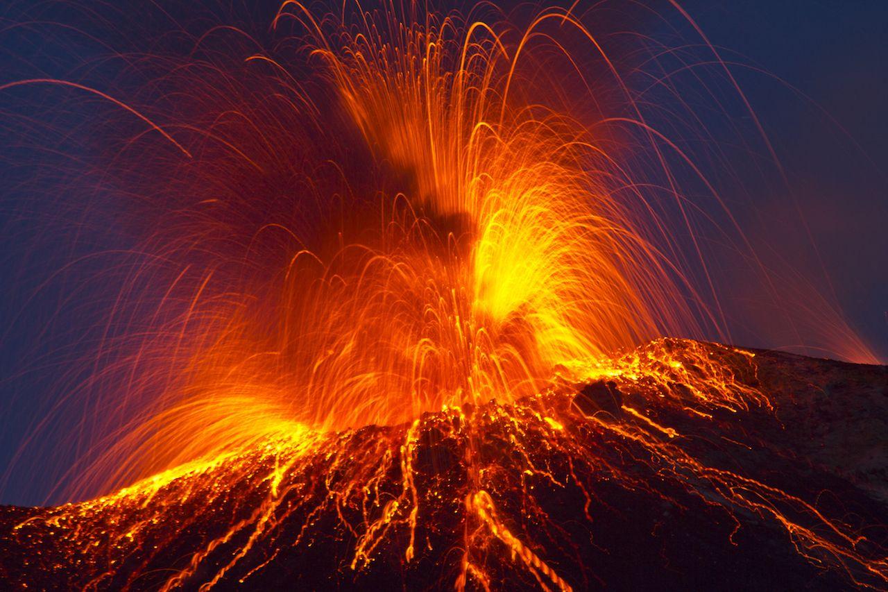 Volcano stromboli eruption